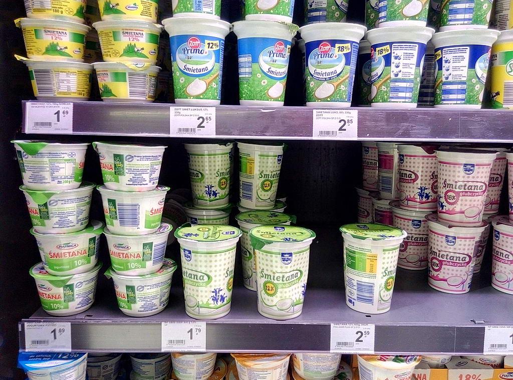 Цены на сметану в супермаркетах Варшавы