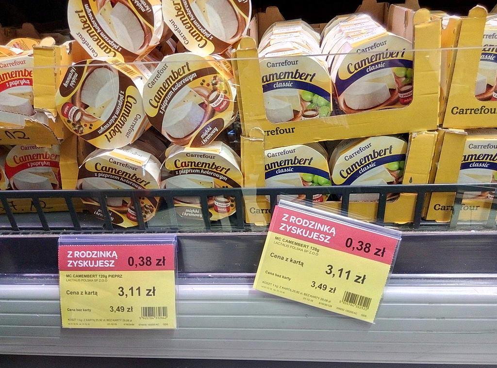 """Цены на сыр """"Камамбер"""" в супермаркетах Варшавы"""