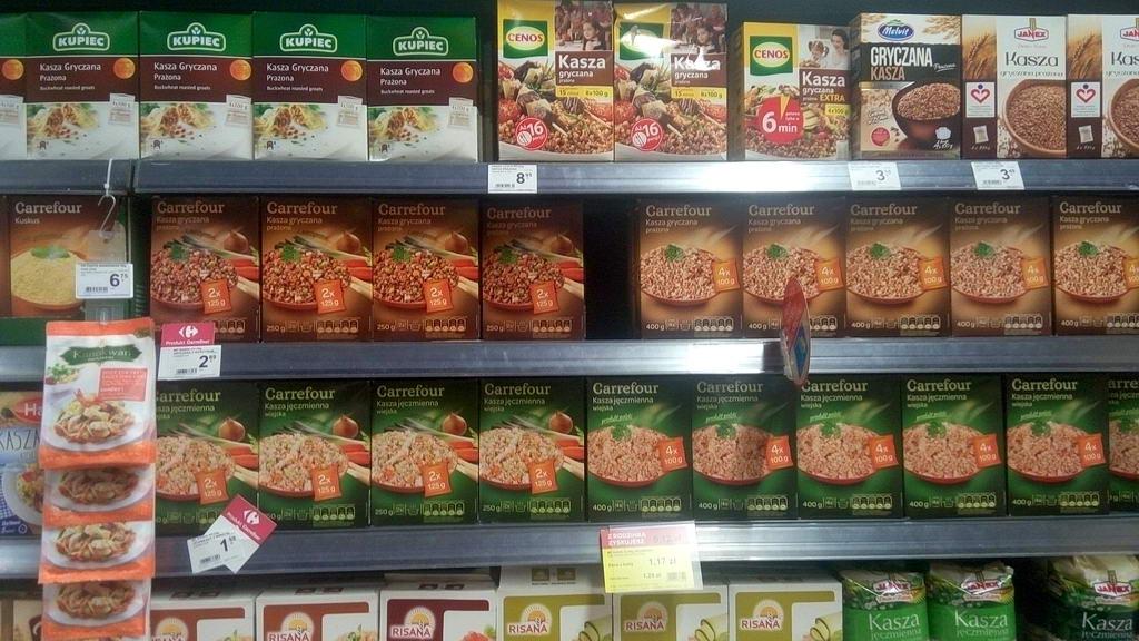 Цены на гречу в супермаркетах Варшавы