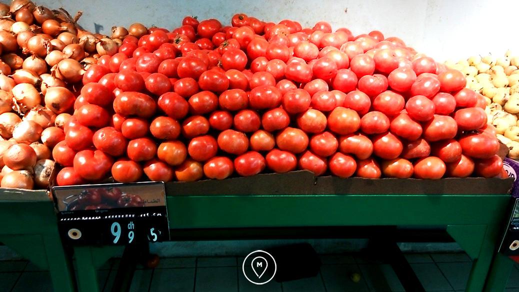 Овощи в Марокко: сочные и очень вкусные томаты - 9,95 дирхамов/кг (около 60 рублей)