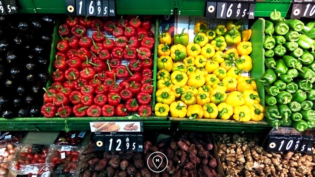 Овощи в Марокко: красные перцы - 12,95 дирхамов за кг (77,7 рублей)