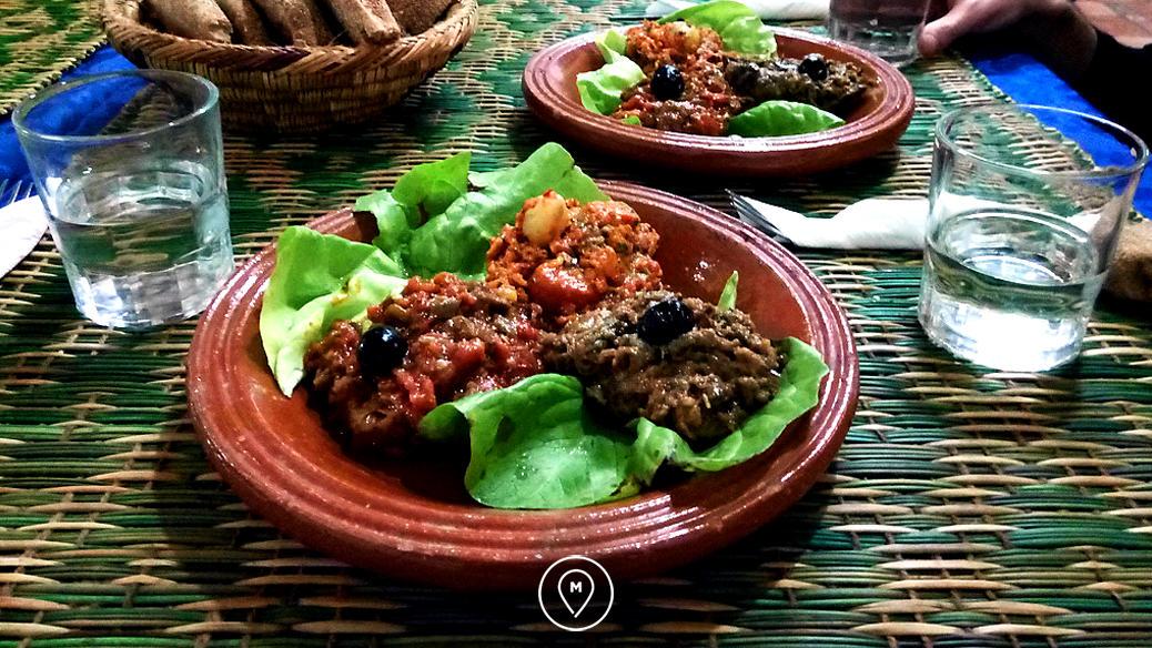 Закуски в ресторане национальной кухни в Марокко