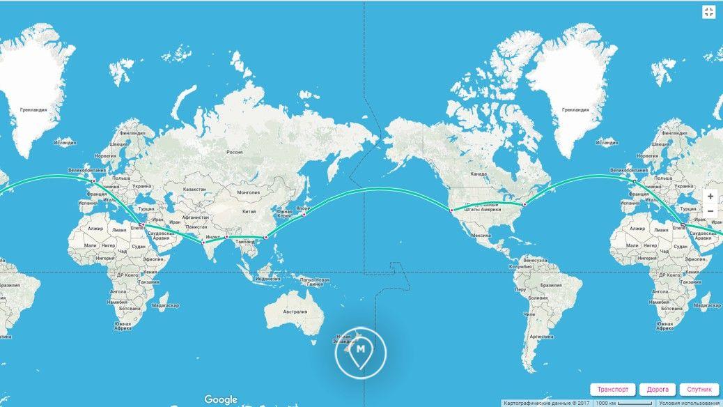 Маршрут вокруг света за 80 дней